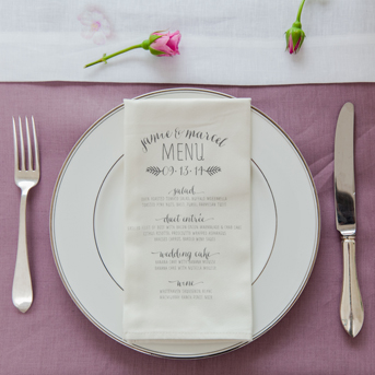 Wedding menu printed on napkin