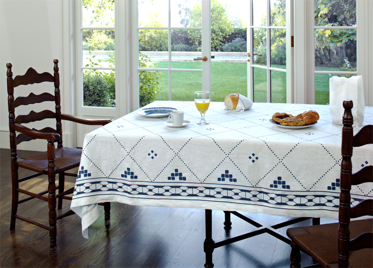 Blue And White Linen Tablecloth Moroccan