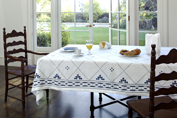Blue And White Tablecloth Napkin Pure Italian Linen Moroccan Tile Design By  Huddleson