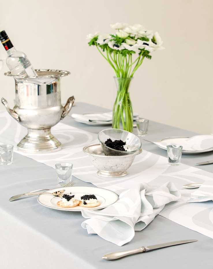 Huddleson Silver Grey Italian Linen Tablecloth And Sloan Swirl Silver And Grey  Table Runner And Napkin