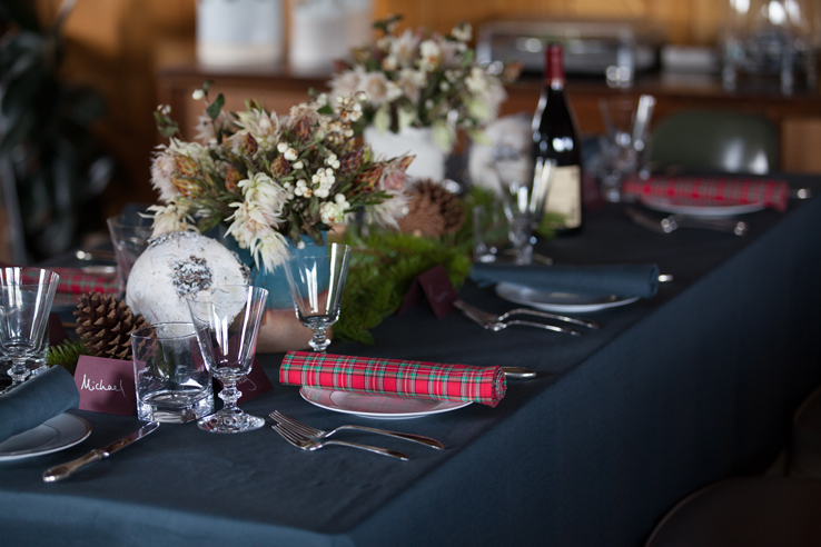 christmas table setting with forest green pure linen tablecloth red plaid napkin and white holiday - Red And Green Christmas Table Decorations