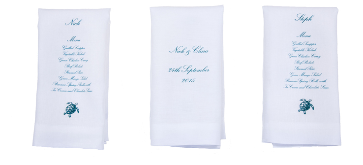 Custom printed linen napkins with wedding menu and place name