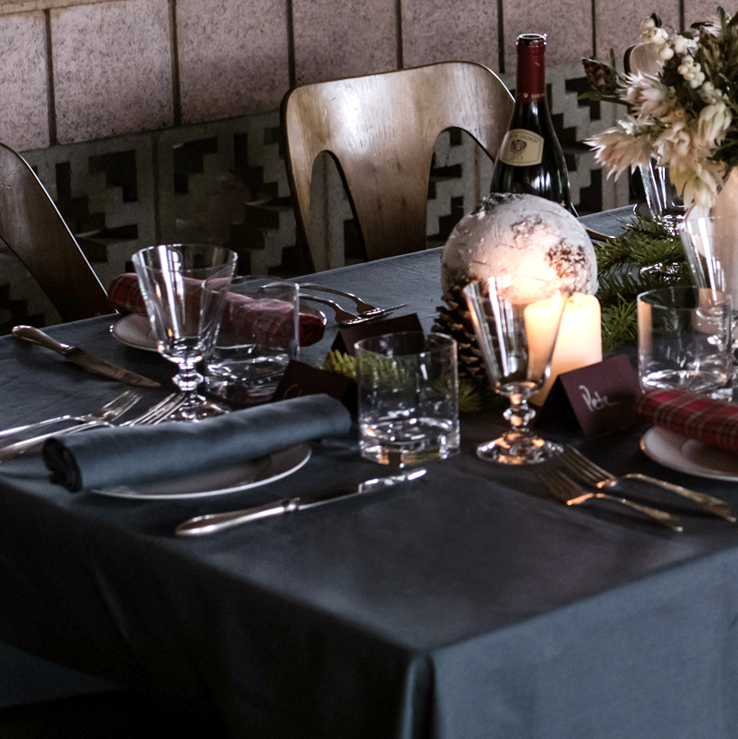 Petrol dark green table linens luxury tablecloth napkin modern holiday table