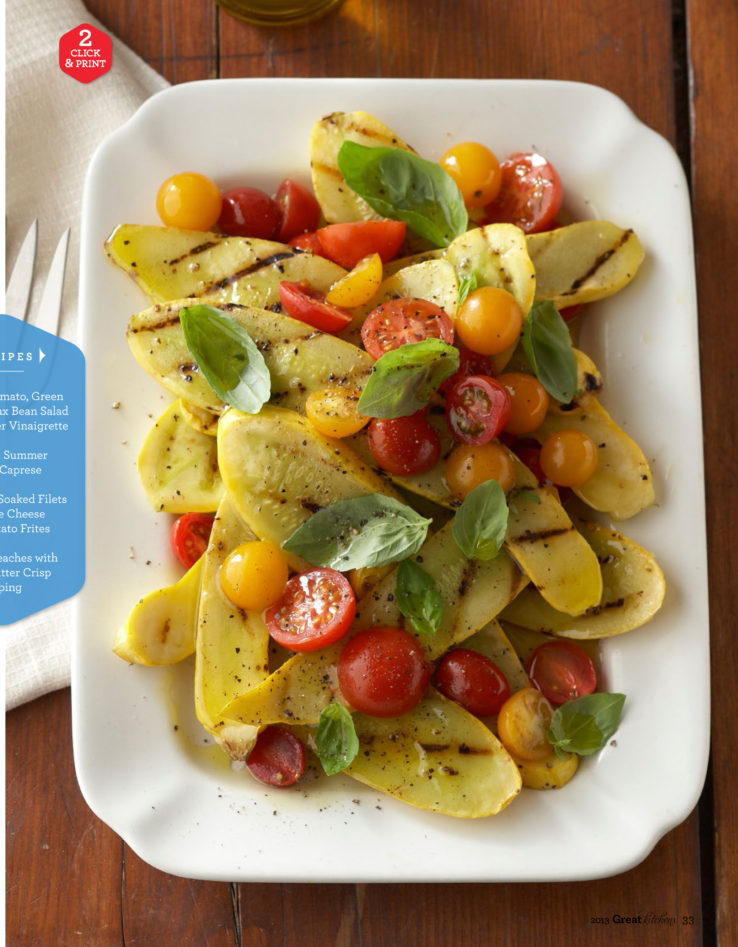 Outdoor entertaining grilled squash cherry tomato salad