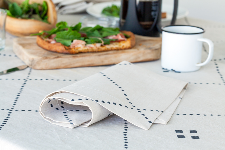 Anfa black check natural linen napkin and tablecloth from Huddleson Linens