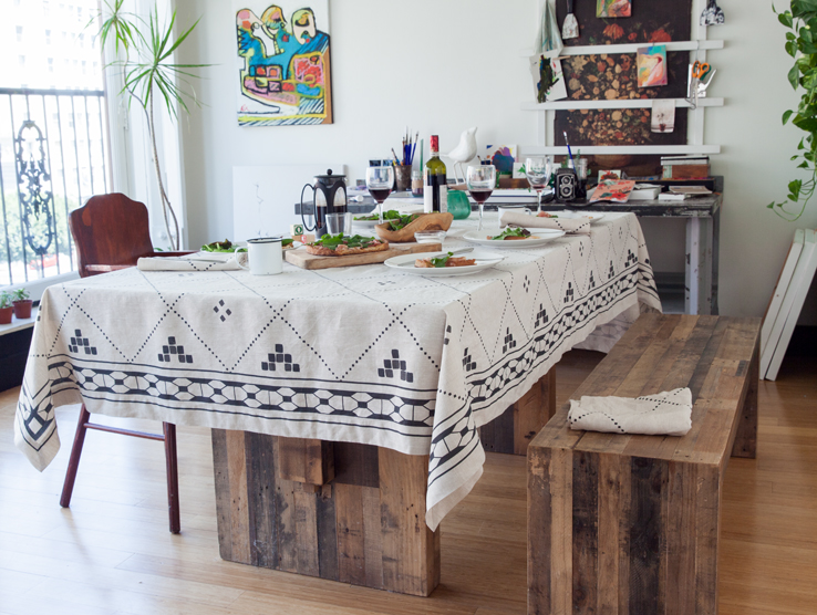 Anfa Natural Linen Tablecloth with Black Moroccan Contemporary Print from Huddleson