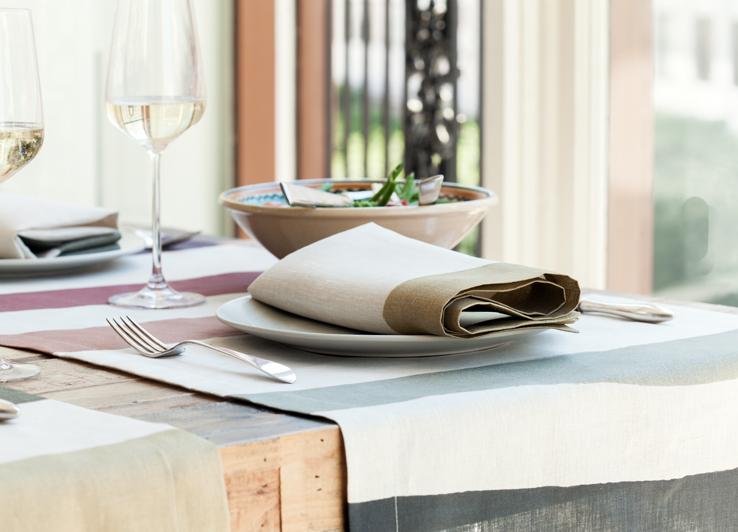 Natural Linen Napkin with Gold Border from Huddleson Linens