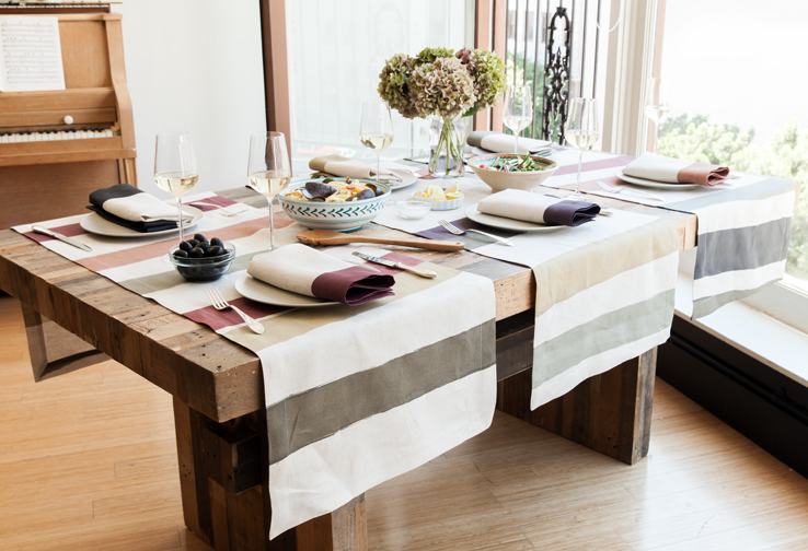 Cinta Striped Natural Linen Table Runners By Huddleson