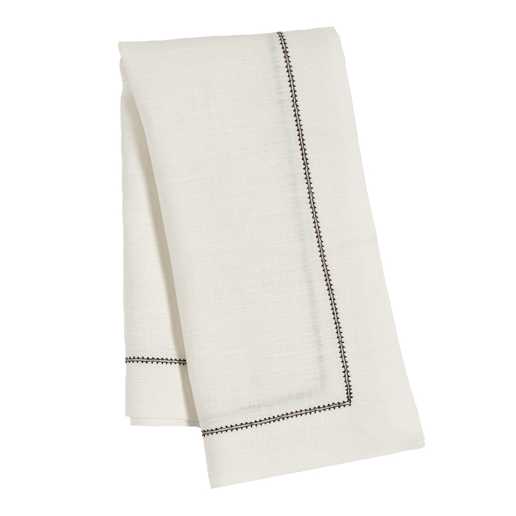 Ivory Contrast Hemstitch Napkin Chocolate Brown Pure Linen