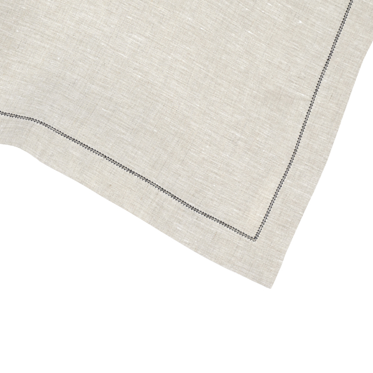 Natural Linen Contrast Hemstitch Napkin Charcoal
