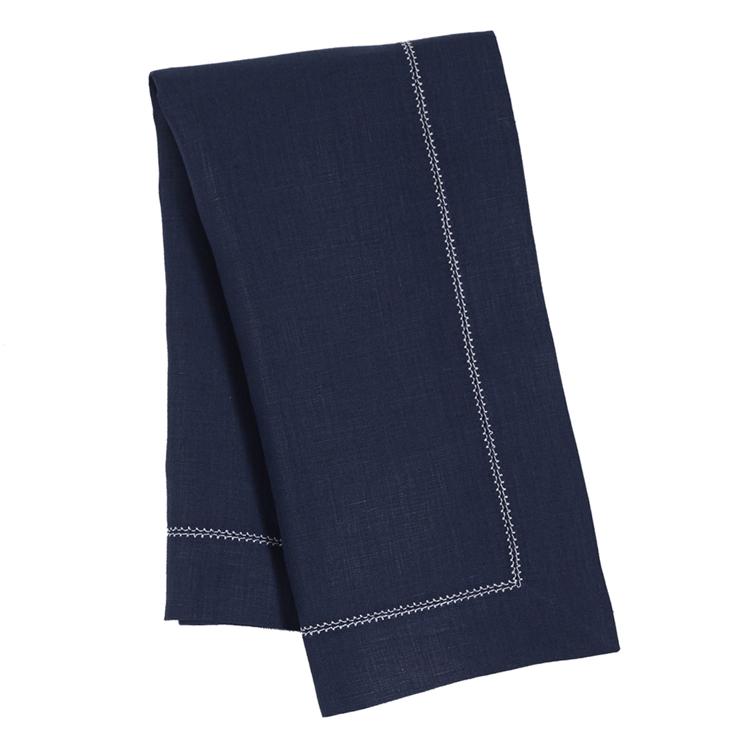 Navy Ivory Contrast Hemstitch Napkin Linen
