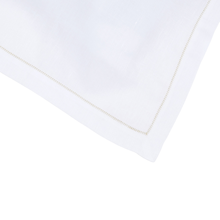 Contrast Hemstitch Napkin Pure Linen White Gold