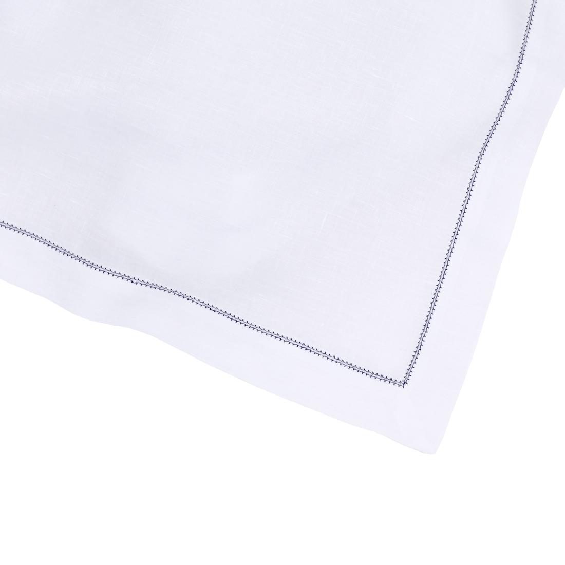 White Linen Napkin Navy Blue Contrast Hemstitch