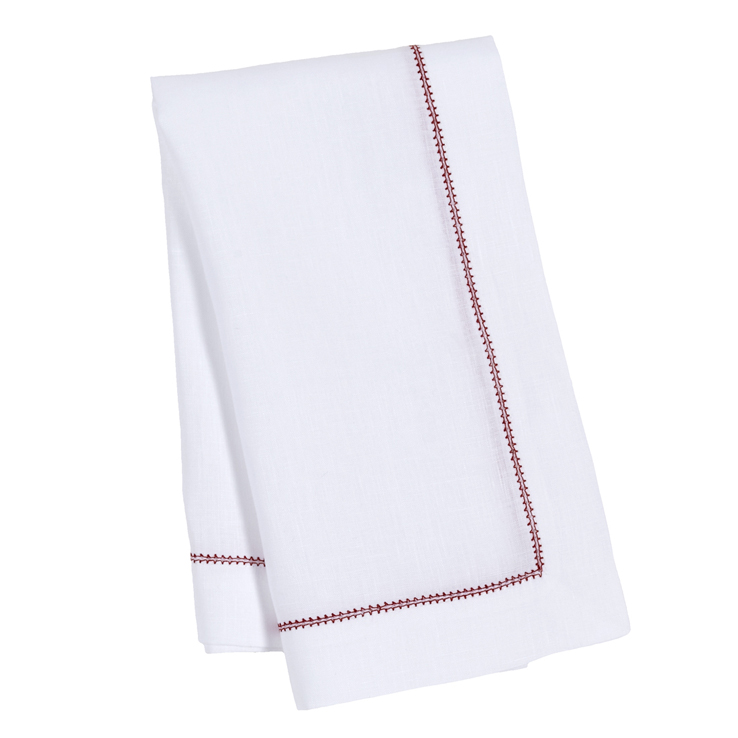 White Italian Linen Napkin Red Contrast Stitch