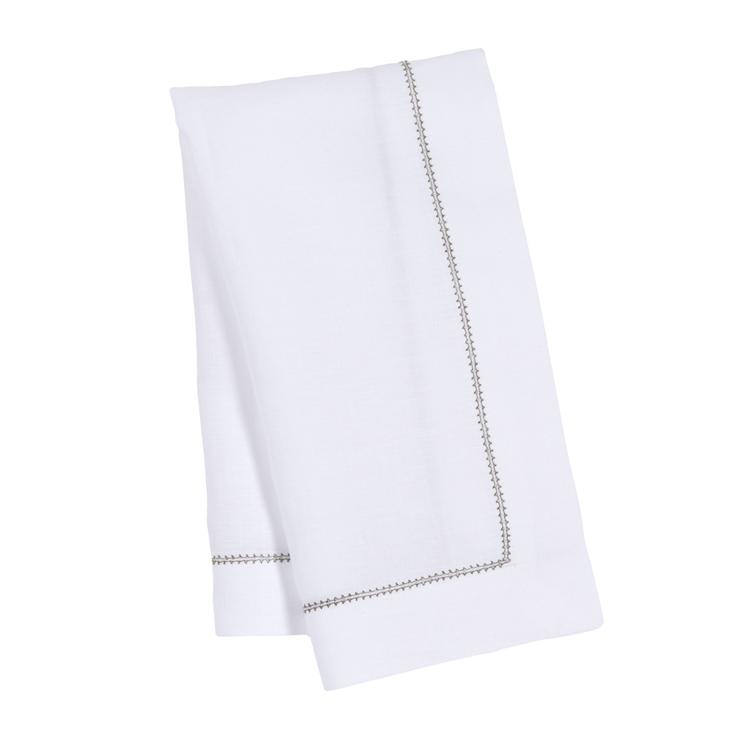Sage Green Contrast Hemstitch Napkin White Pure Italian Linen Luxury