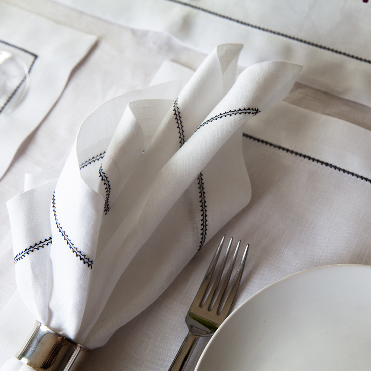 White Linen with Black Contrast Hemstitch Napkins