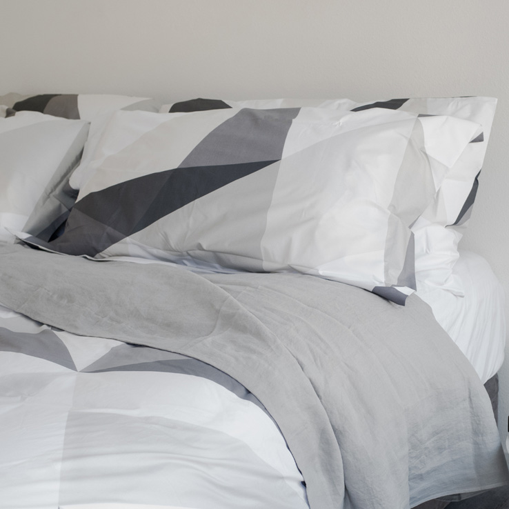 Diamond Grey Geometric Cotton Duvet Cover and Shams Luxury Italian Bed Linens