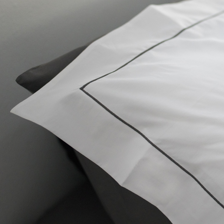 White Cotton Percale Pillow Sham with Pewter Grey Satin Stitch