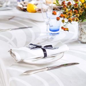 Spring Table Linens in Shades of Green Blue Pink White Pure