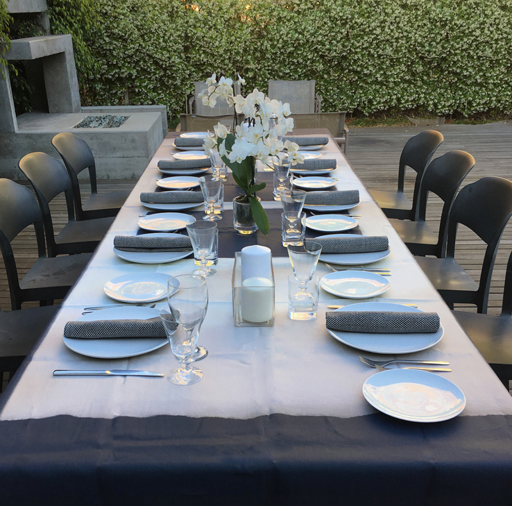 Spring Dinner Party in Los Angeles Contemporary Tablescape