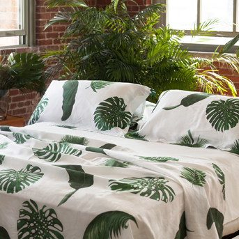 Palm Print Linens for Bed and Table