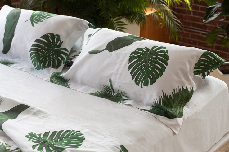 Palm Print Bed and Table Linens Shams Pillowcases