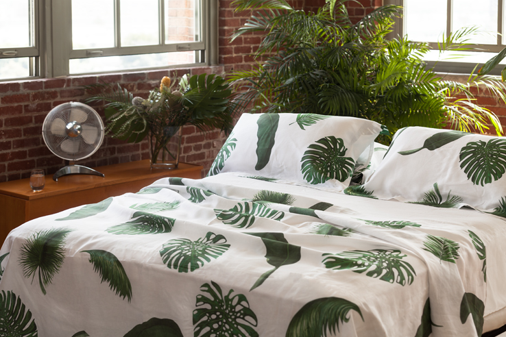 Palm Print Bed and Table Linens Top Sheet Shams