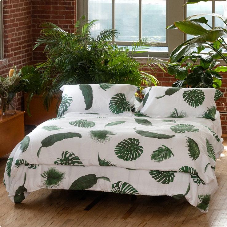 Palm Print Bed and Table Linens Duvet Cover Monstera Banana