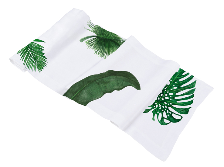 Palm Print Bed and Table Linens Table Runner