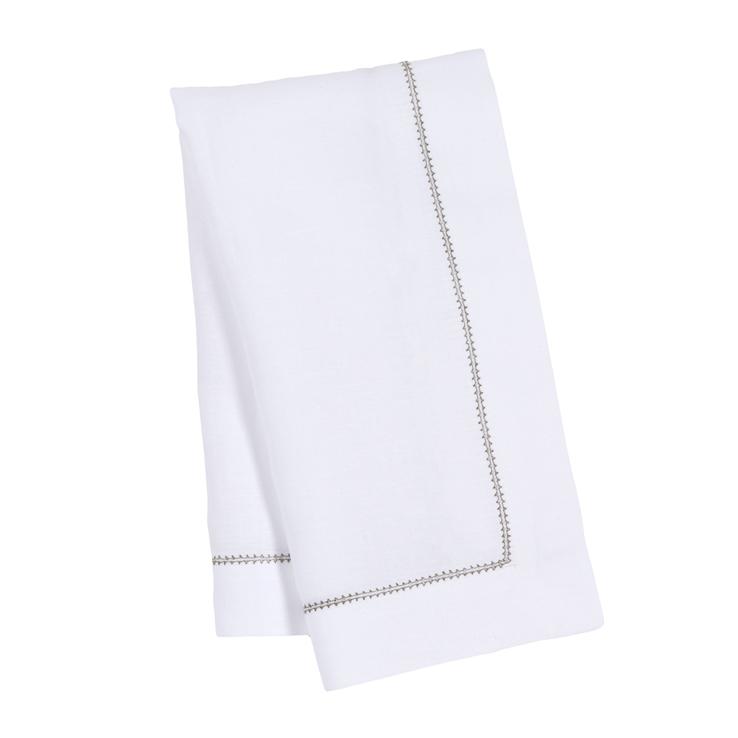 White Linen Napkin Sage Green Contrast Hemstitch