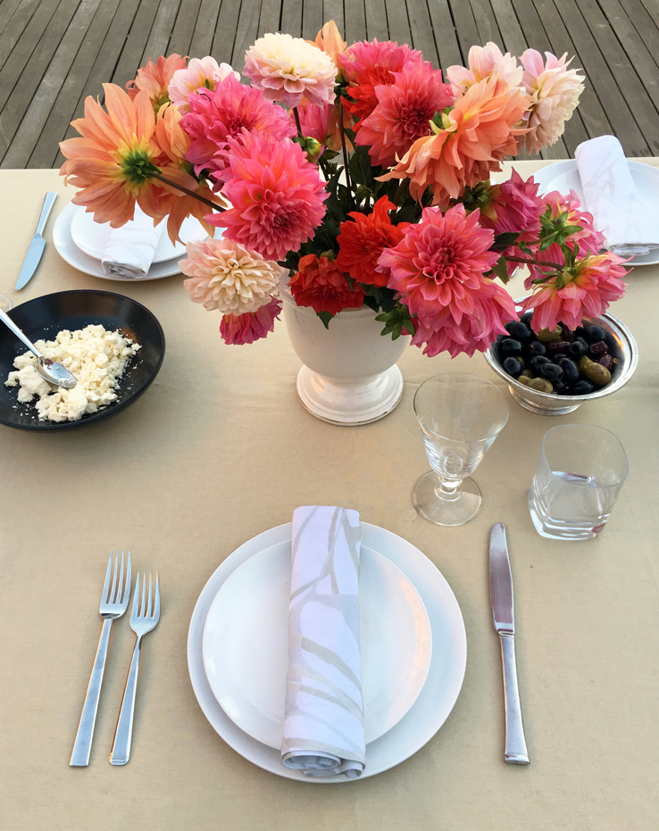 Camel linen tablelcoth organic printed linen napkin dahlias pink coral