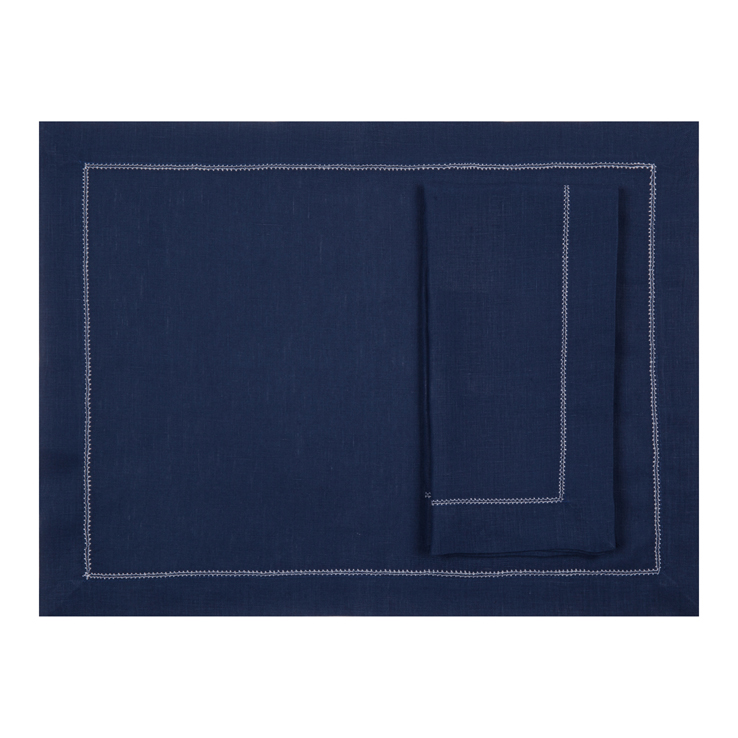 Navy blue placemat with ivory hemstitch linen gifts