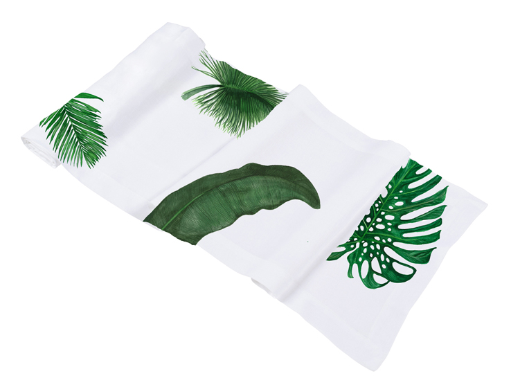 Topical leaves palm print table runner linen gifts