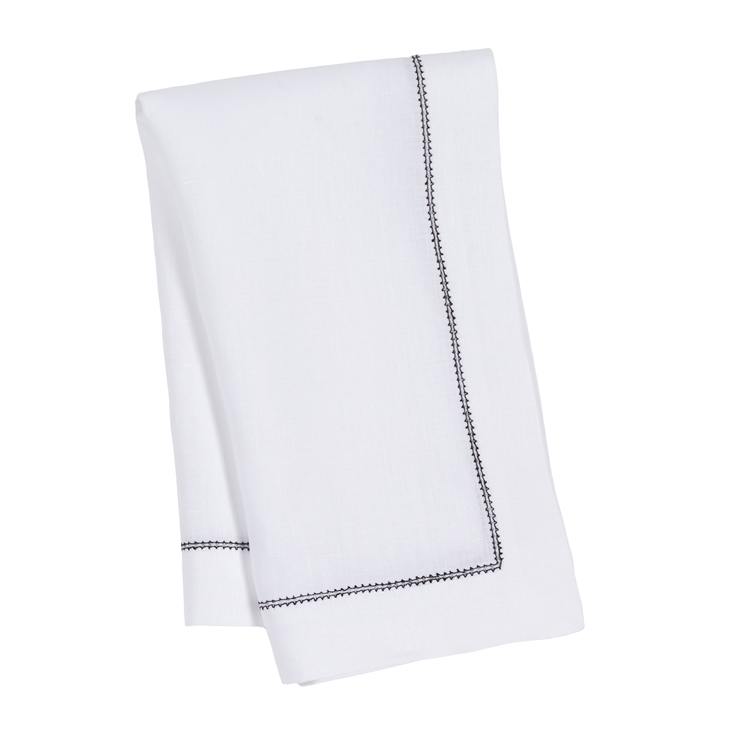 Linen gifts guide: White napkin black hemstitch