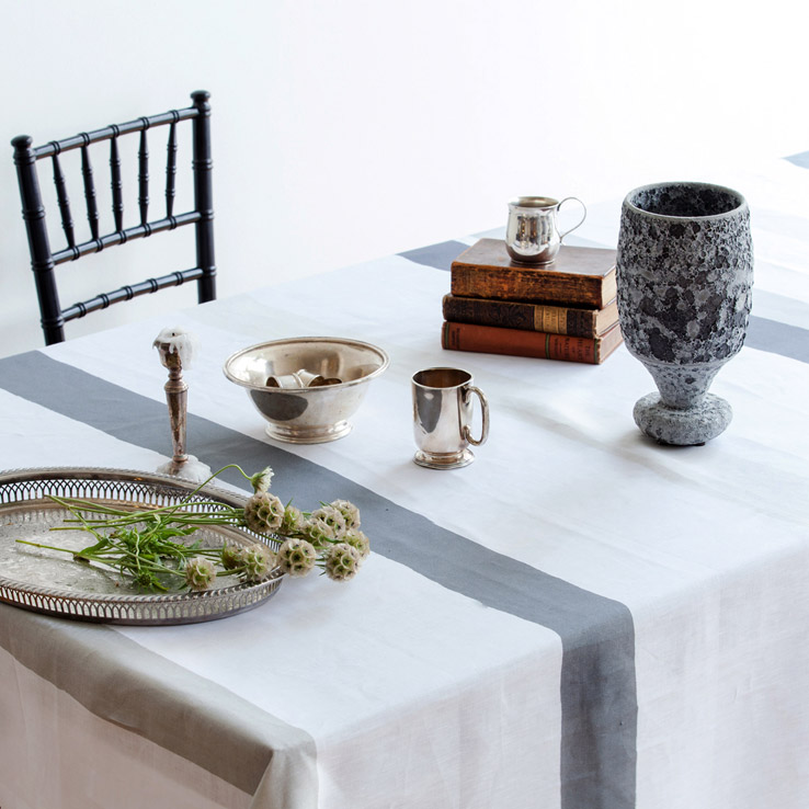 why linen tablecloths with grey stripes are the perfect combination of classic and contemporary