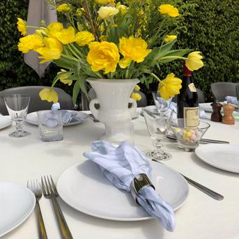 Easter Ivory Linen Tablecloth Spring Lunch Pastel Aqua White Linen Napkin