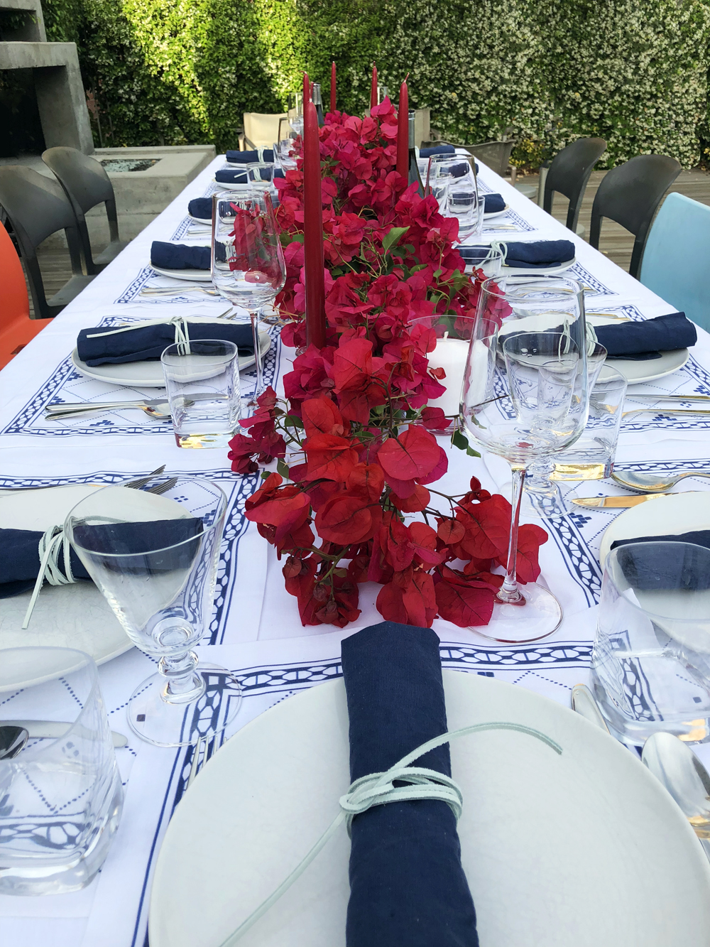 Greek dinner party blue and white tablescape table linens bougainvillea