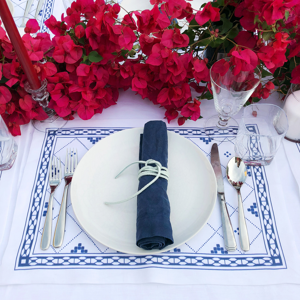 Blue and white place setting table linens bougainvillea Greek dinner party & Huddleson Linens