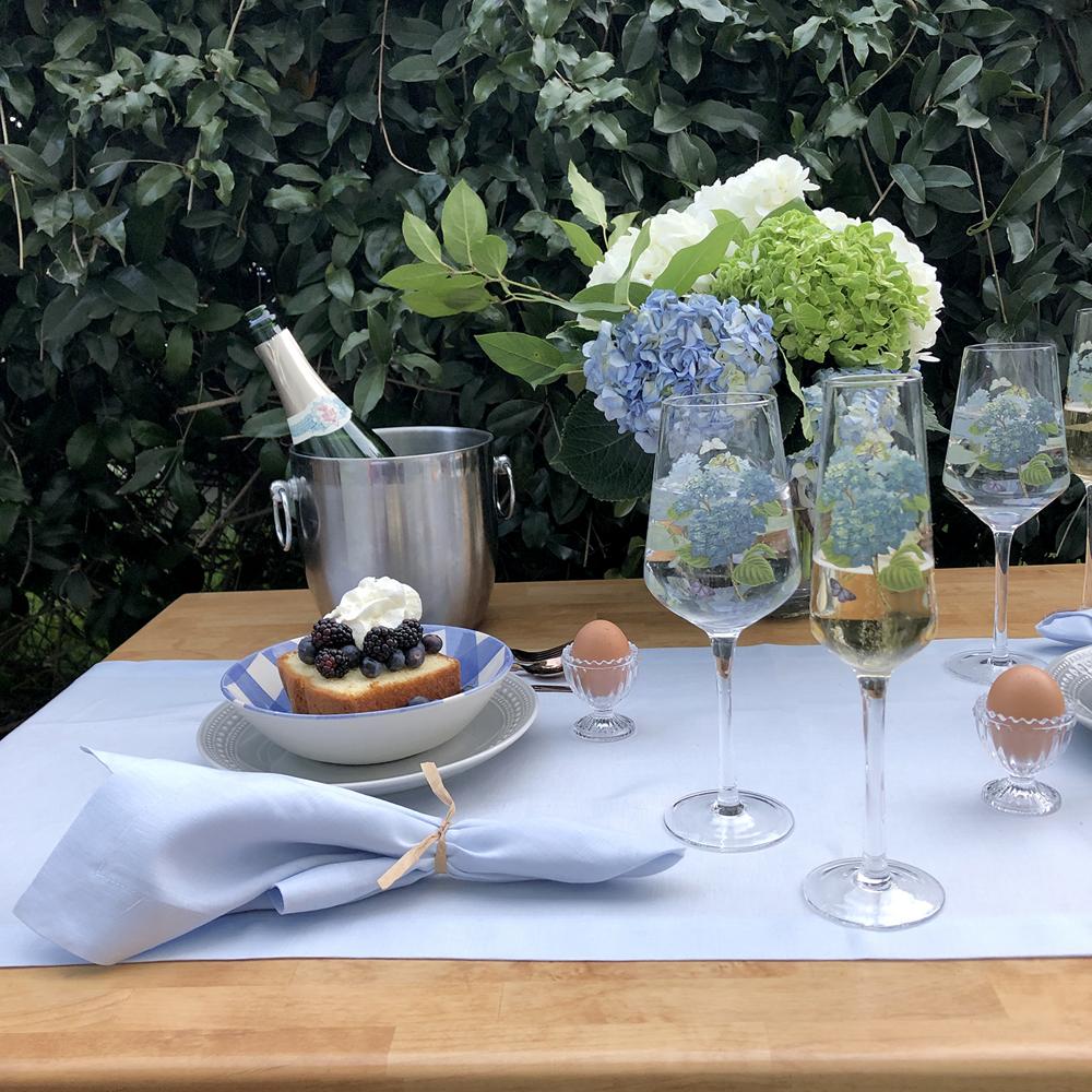 Sky Blue Pastel Linen Napkin Table Runner Hydrangeas Champagne Picnic for Two