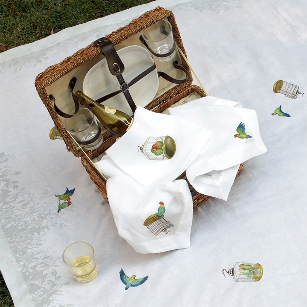 Posh Picnic Luxury Glam Boho Outside Dining Romantic Frolic Birds Basket