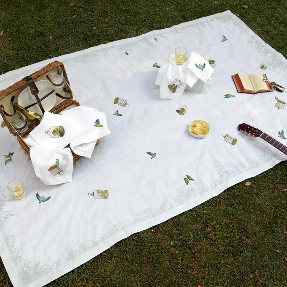 Lovebirds Posh Picnic Basket Tablecloth Luxury Romantic Dining Frolic