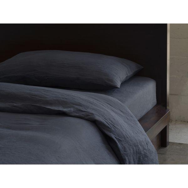 Slate Charcoal Grey Pure Italian Linen, Elegant Slate Grey Bedding